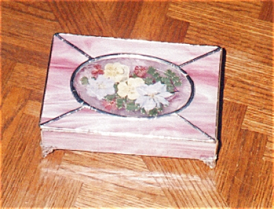 Pink Stained Glass Box with Dried Flowers (Image1)