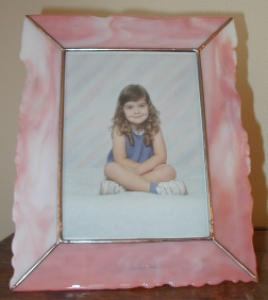 Peach/white Art Glass Frame