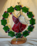 Click here to enlarge image and see more about item angelwreath: Stained Glass Angel in Wreath
