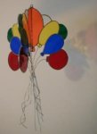 Here is a wonderful bunch of balloons that will brighten any childs room.  Made of a variety of colors of transparent glass, a rainbow of light is reflected on nearby walls, as can be seen in the picture.  This 3-sided hanging decoration measures approximately 16 inches high and 9 inches wide.