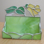 Click here to enlarge image and see more about item bc-flwr: Yellow Rose Business Card Holder