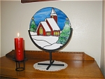 Click here to enlarge image and see more about item church-panel: Round Church Panel - Wrought Iron Stand