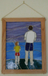 How special those times were, when it was just me and my dad.  Didn't matter where we were, or what we were doing, it always made me feel so loved.  This 12 x 16 inch panel is framed in solid oak and hangs on a brass chain. The first image shows the panel front lit, and the second image shows the panel backlit.