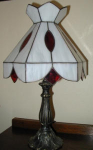 Click to view larger image of White Panel Lamp with Red Accents (Image1)