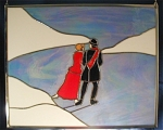 This beautiful panel brings back memories, depicting a couple ice skating on a frozen pond.  A light blue irridized glass gives the pond a real icy look.  The panel measures approximately 16-1/2 x 20-1/2 inches, including the metal framing, and hangs from metal hooks on both sides.  Stained glass hobbyists can find the pattern for this piece in my latest book, <I>Tis the Season</I>, which you can find in my Stained Glass Pattern Books category.