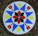 Bring your home good fortune!  The Pennsylvania Dutch believe hex signs ward off evil spirits and bring fortune and good luck.  The hex sign in this stepping stone symbolizes Abundance and Goodwill.  This stepping stone is made of reinforced concrete and stained glass, and has been sealed to prevent staining.  It measures 14 inches in diameter and weighs approximately 16 pounds.  Shipping can be calculated by going to www.ups.com or www.usps.gov.  The stepping stone will be shipped from zip code 32907.