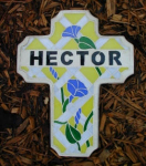 Click here to enlarge image and see more about item ss-hector: Stained Glass Stepping Stone - Memorial Cross
