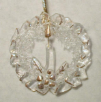 Click here to enlarge image and see more about item wreath1: Holiday Wreath Glass Christmas Ornament