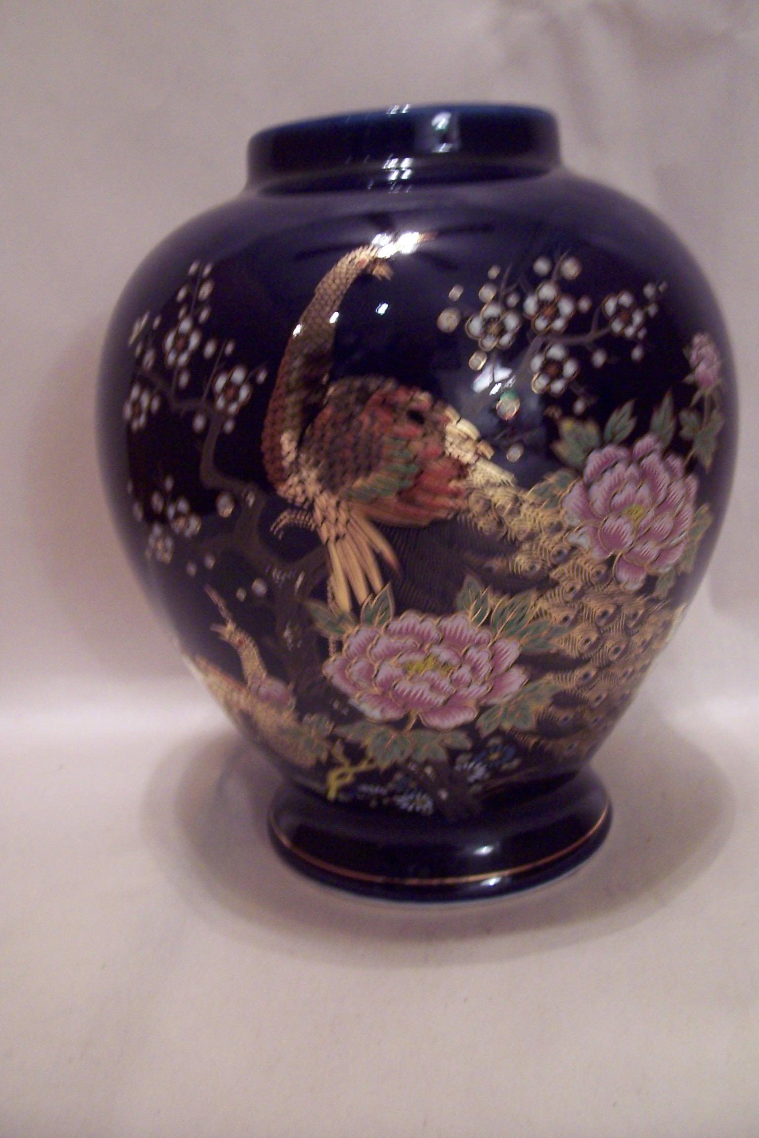 Japanese cobalt blue porcelain peacock vase porcelain and pottery japanese cobalt blue porcelain peacock vase porcelain and pottery made in japan at bgs classic art pottery ceramics reviewsmspy