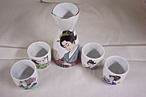 Japanese 5 Piece Geisha Sake Set (Image1)