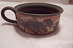 Handmade Art Pottery Handled Soup Bowl (Image1)