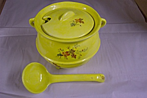 Artist Handmade Yellow Soup Tureen With Ladle