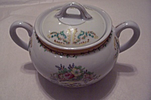 Taiko Floral Pattern Porcelain Sugar Bowl With Lid