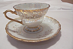 Betson's Opalescent China Gilt Trimmed Cup & Saucer
