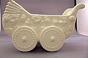 Cameron Clay Products White Baby Buggy