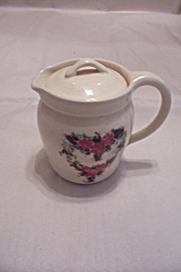 Vintage Lidded Pottery Pitcher