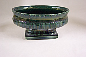 McCoy Vintage Green Oval Footed Flower Bowl (Image1)