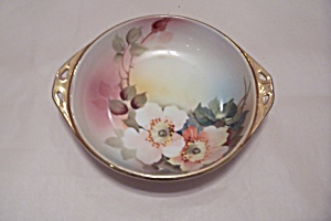 Nippon Handpainted Floral Decorated Handled Bowl