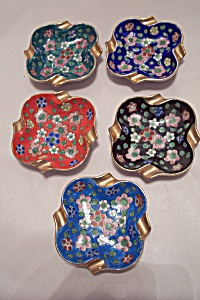 Vintage Set Of 5 Cloisonne Stacking Ashtrays