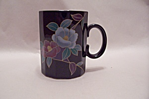 Otagiri 12-sided Black Mug With Floral Motif