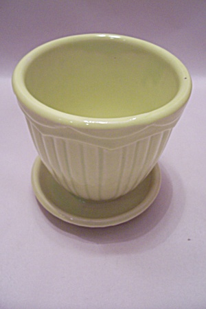 Greenish/yellow Round Planter.
