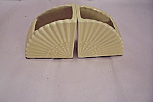 Pair Of  Yellow Cache Pot Fan Shaped Bookends (Image1)