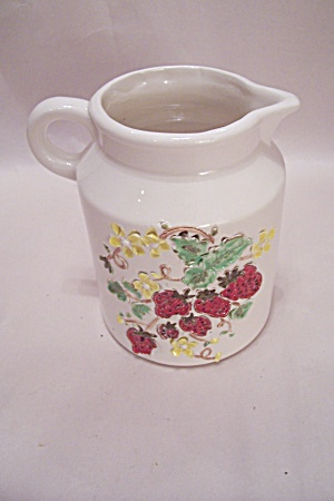White Pitcher With Strawberry Motif
