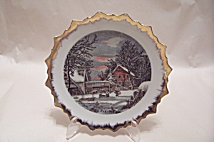 Courier & Ives The Farm Home In Winter Collector Plate