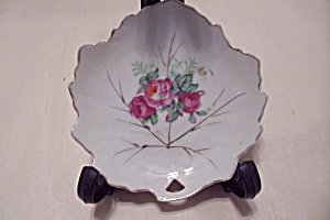 Occupied Japan Leaf Shaped Rose Motif Collector Plate