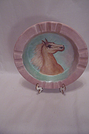 Horse Motif Porcelain Ashtray