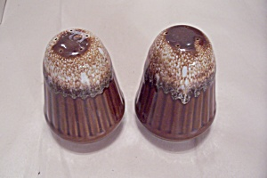 Brown Drip Pottery Salt & Pepper Shaker Set