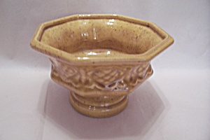 Haeger Yellow Pottery Pedestal Bowl (Image1)