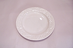 White Stoneware Snack Plate With Fruit Rim Pattern