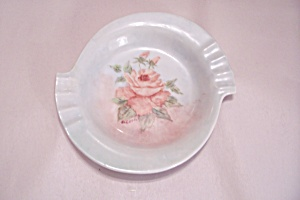 Handpainted Rose Motif Ash Tray