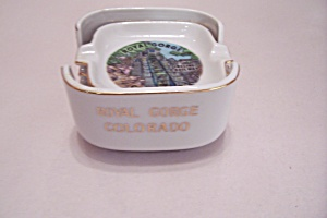 Royal Gorge, Colorado 3 Ash Tray Set In Holder