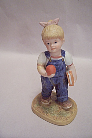 HOMCO Denim Days School Girl With Book & Apple Figurine (Image1)