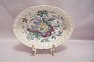 Kierkwood Multicolor Flowers & Fruit Pattern Oval Bowl