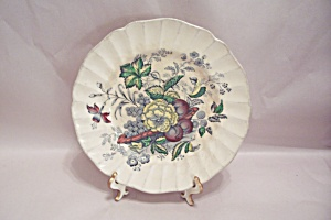 Kirkwood Multicolor Flowers & Fruit Pattern Bread Plate