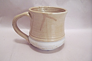 Handmade Two-tone Beige & Creme Colored Pottery Mug