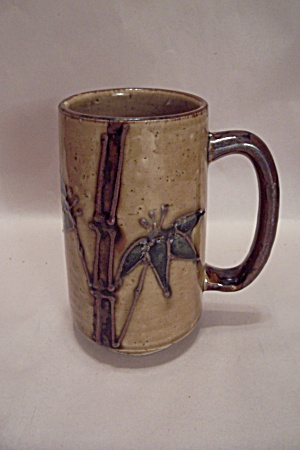 Japanese Pottery Mug With Bamboo Motif (Image1)