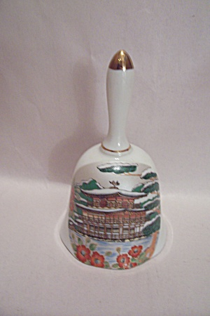 Japanese Pagoda & Winter Scene Porcelain Collector Bell (Image1)