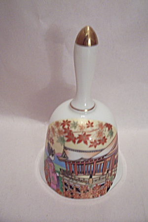 Japanese Geisha And Fall Scene Porcelain Collector Bell (Image1)