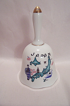 Japanese Map & Scenic Sites Souvenir Porcelain Bell