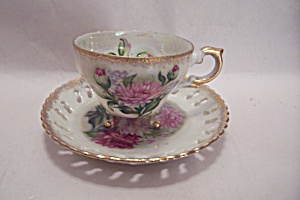 Japanese Rose Motif Teacup & Saucer Set (Image1)