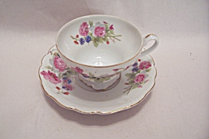 Occupied Japan Flower Bouquet Teacup & Saucer Set (Image1)