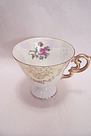 Occupied Japan Rose Motif Porcelain Demitasse Teacup (Image1)