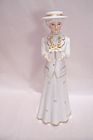 Porcelain Lady Figurine In White & Gilt Vintage Dress