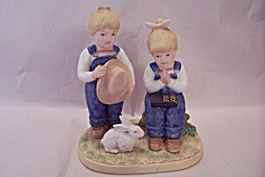 Denim Days Boy & Girl With Rabbit & Bible Figurine (Image1)