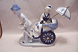 Porcelain Ricksha & Passenger Figurine (Image1)