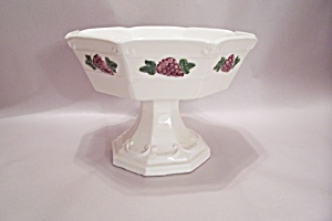 Enesco White Grapel Decorated Porcelain Pedestal Bowl